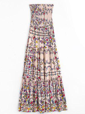 Floral Ruffles Smocked Tube Dress - Floral S