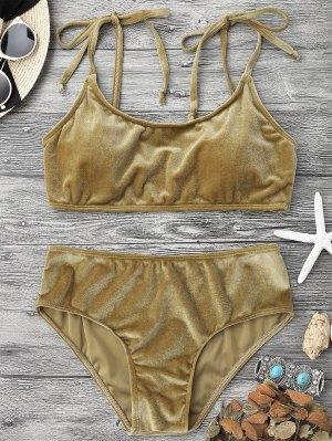 Velvet Padded Bralette Bikini Set - Brown M