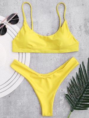 Bikini Ajustado Acolchado De La Correa De Cami - Amarillo M