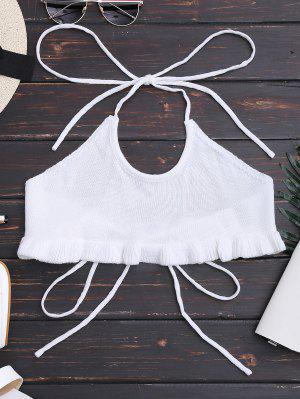 Knitting Ruffles Cropped Tank Top - White S