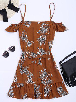 Vestido De Tirantes Finos Con Volantes Con Estampado Floral Con Cinturón - Floral M