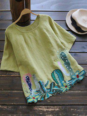 Cuello redondo Cacti blusa bordada