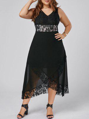 Plus Size Lace Trim Tulip Maxi Dress - Black 5xl