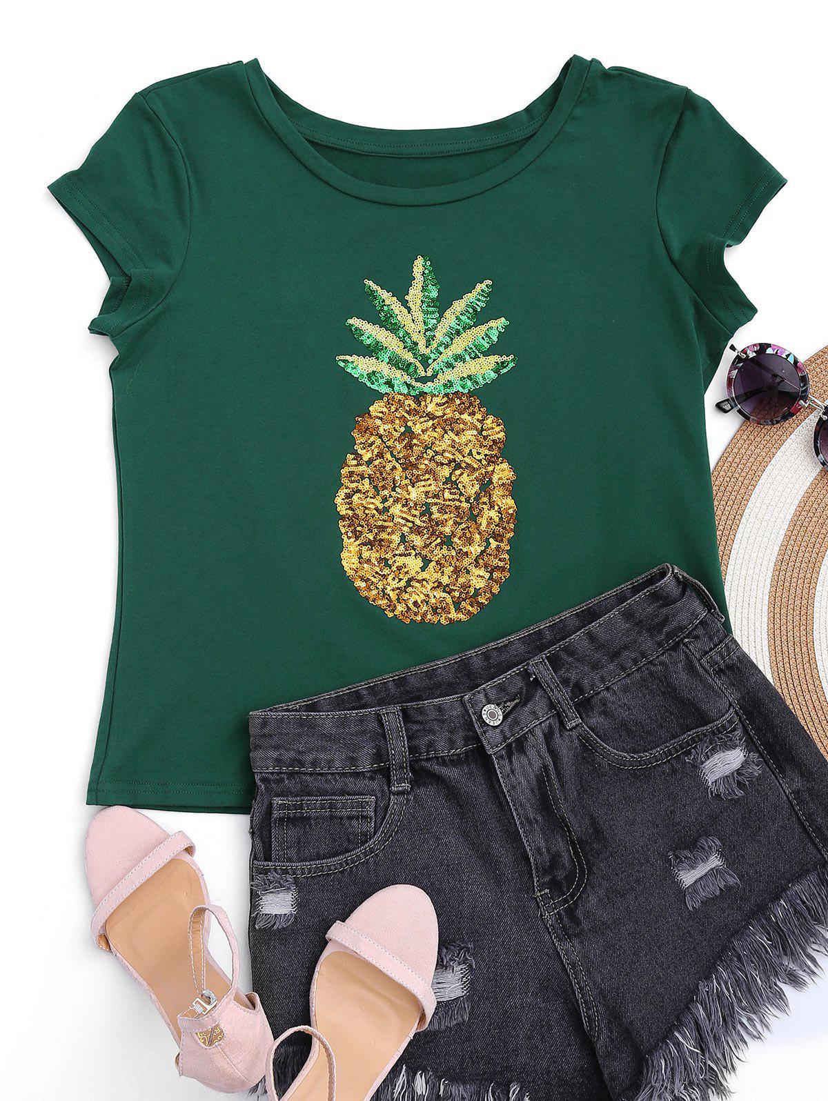 Tops coton imprimé ananas embelli paillette