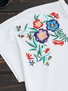 Blanco Algod Bordada Camiseta M 243;n Floral Del Drapeado RwYqwPt