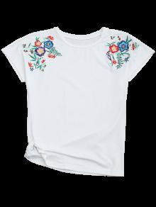 Drapeado Floral Del Camiseta Bordada Algod 243;n M Blanco w6XHfzqx