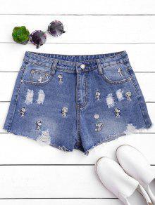 Puppy Embroidered Destroyed Denim Shorts - Denim Blue S