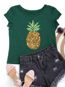 Cotton Pineapple Sequins Top - Green 2xl