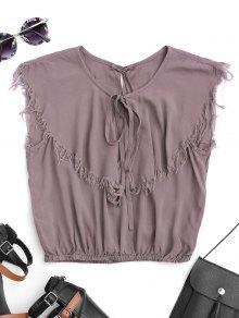 Sleeveless Ruffles Cutoffs Top - Purple L