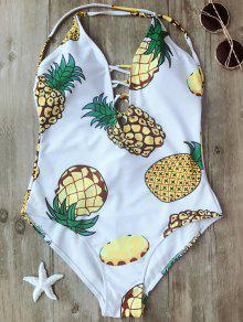 Shaping Pineapple Plunge One Piece Swimsuit - White Xl