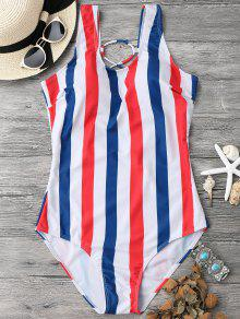 Lace Up Stripes Swimwear - Blue And Red L