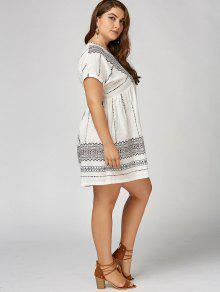 bb49d36fa80 30% OFF  2019 Plus Size V Neck Bohemian Smock Dress In WHITE
