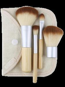 4Pcs Kit De Maquillaje Facial De Bambú Con El Bolso - Color De Madera