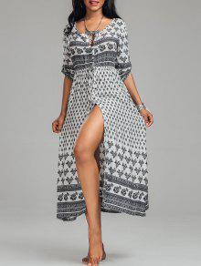 فستان بوهيمي عالية انقسام طباعة قبلية زر - أبيض M