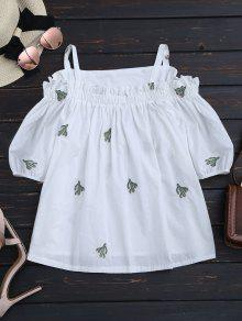 Cacti Embroidered Ruffle Hem Cami Blouse - White