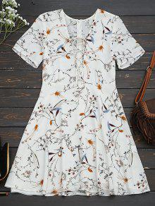 Floral Lace Up A-Line Dress - Floral M