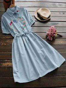 Floral Embroidered Drawstring Flare Dress - Blue Gray