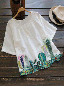 Round Collar Cacti Embroidered Blouse - White
