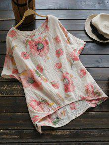 Round Collar Floral Print Blouse - Pink