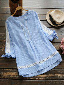 Notched Openwork Striped Blouse - Blue Stripe