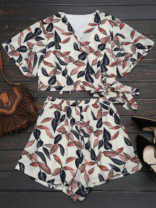 Leaves Print Cropped Wrap Top And High Waisted Lined Shorts - Off-white S