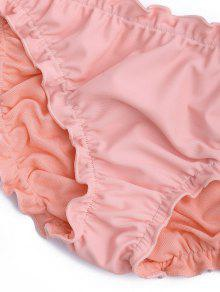 f0dd108e9bca0 28% OFF] 2019 Ruffled Off Shoulder Ruched Bathing Suit In PINK   ZAFUL