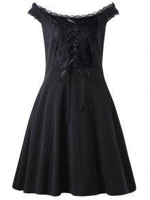 الدانتيل يصل زائد حجم اللباس مصغرة - أسود Xl