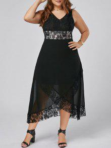 زائد حجم الدانتيل تريم توليب فستان ماكسي - أسود 5xl