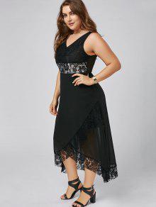 Plus Size Lace Trim Tulip Maxi Dress BLACK: Plus Size Dresses 5XL ...