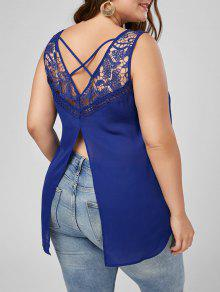 Lace Trim Plus Size Lattice High Low Tank - Blue Xl
