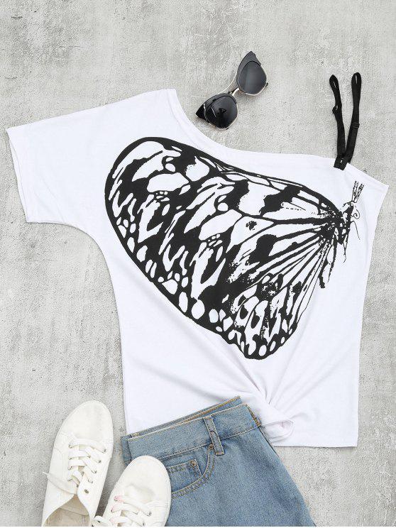 shop Butterfly Print Skew Collar Tee - WHITE XL