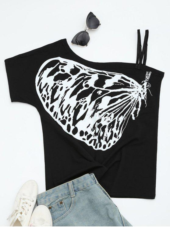 fashion Butterfly Print Skew Collar Tee - BLACK S