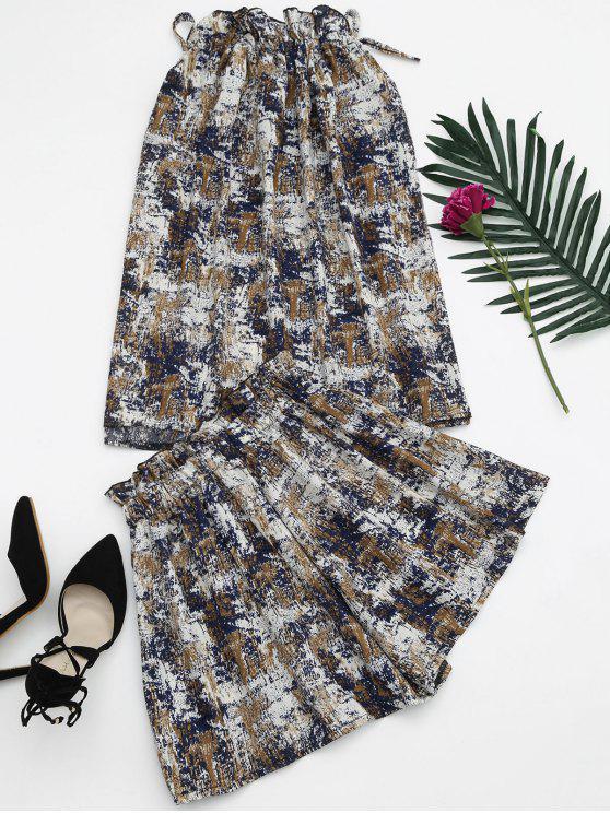 fancy Tie Dye Ruffles Top and Shorts Set - BLUE ONE SIZE