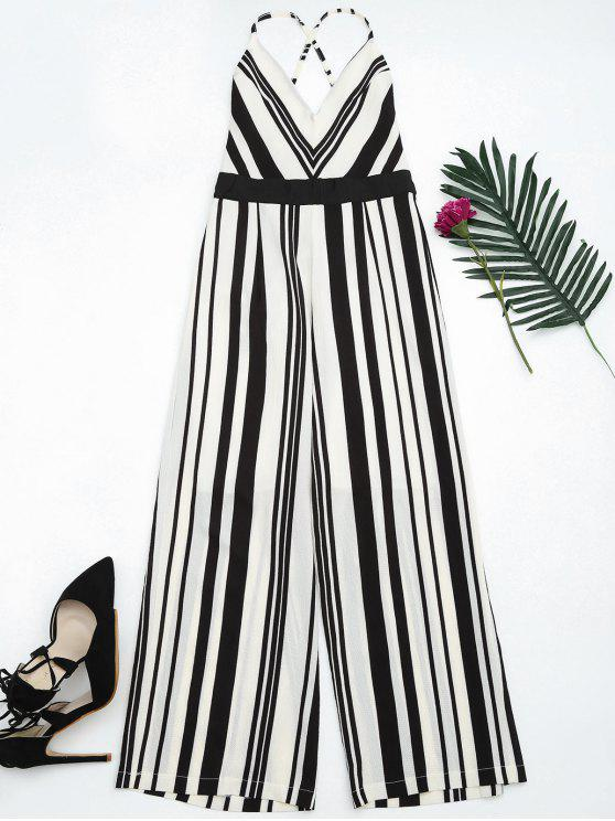 best Open Back Striped Cami Jumpsuit - BLACK L