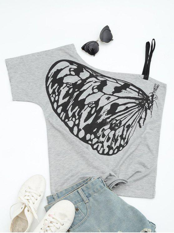 Camiseta del cuello de la inclinación de la impresión de la mariposa - Gris M