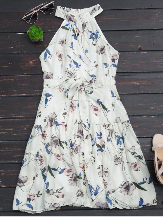 Robe à imprimé floral sans manches - Blanc L