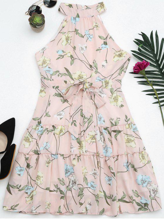 Vestido de impressão floral sem mangas com pescoço alto - Rosa M