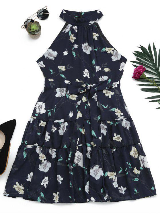 Sin mangas de cuello alto vestido de impresión floral - Azul Purpúreo M