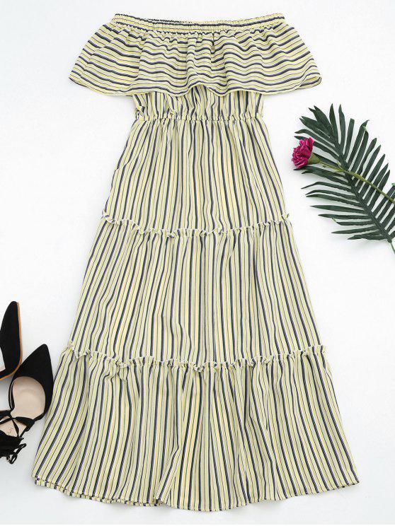 women's Flounce Off The Shoulder Stripe Dress - YELLOW ONE SIZE