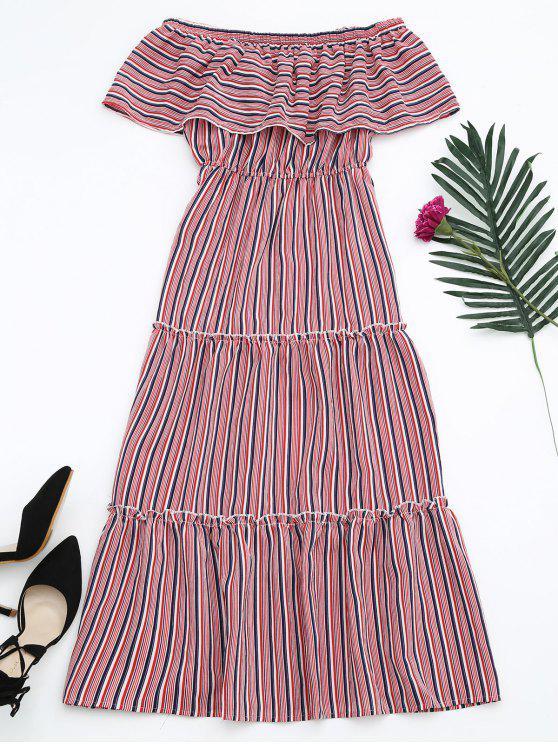 Flounce Off The Shoulder Stripe Dress - Vermelho Tamanho único