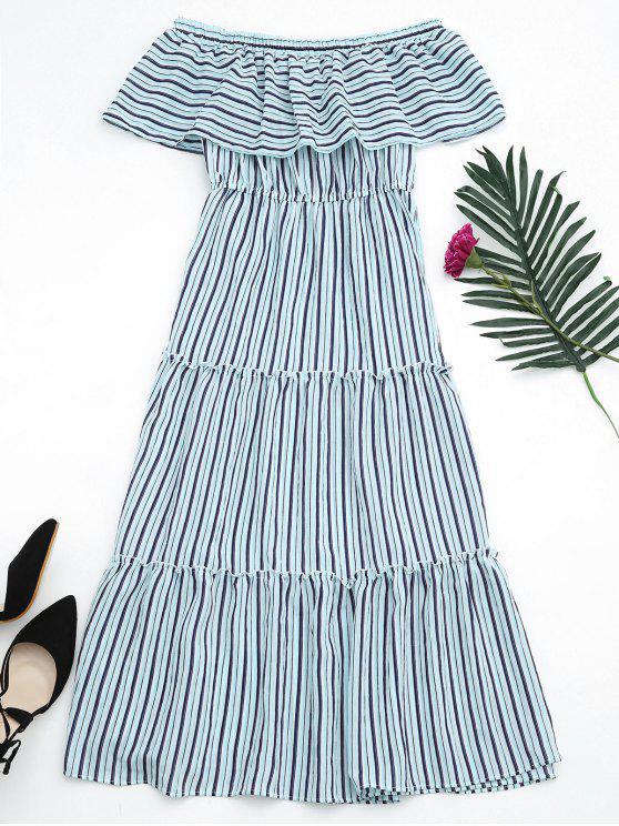 Flounce Off The Shoulder Stripe Dress - Azul-celeste Tamanho único