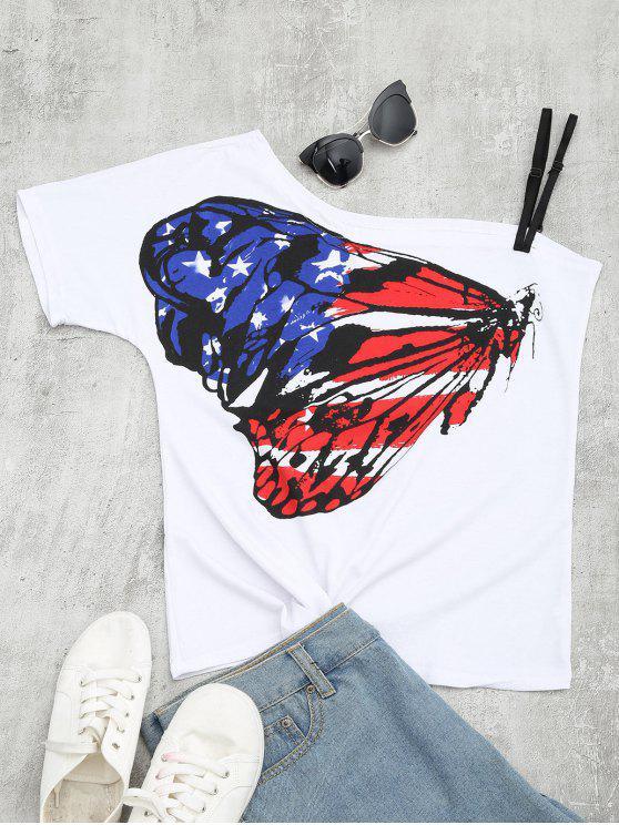 women's Butterfly Print Skew Collar Tee - MULTI S