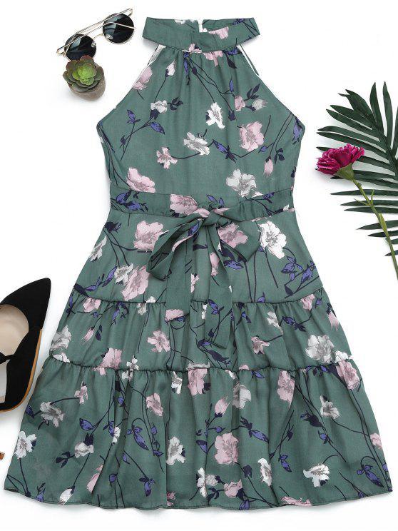 Sin mangas de cuello alto vestido de impresión floral - Musgo M