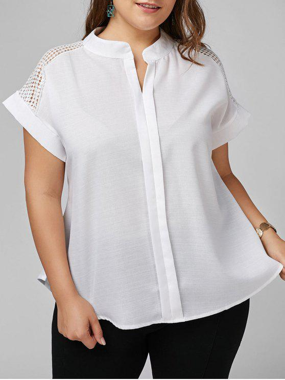 a8ce0867f82d3b 25% OFF] 2019 Plus Size Openwork V Neck Plain Blouse In WHITE | ZAFUL