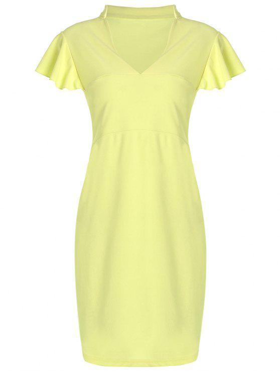V فستان كشكش الحجم الكبير ضيق الرقبة - الأصفر 2XL