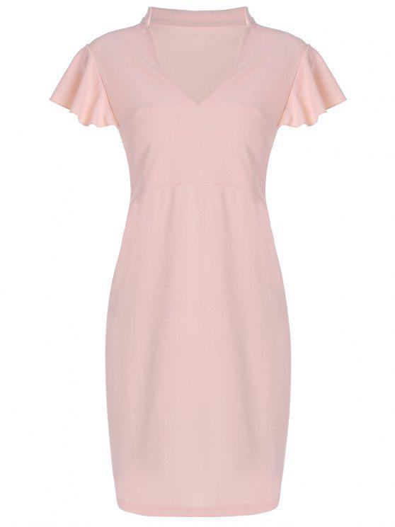 women Plus Size V Neck Ruffle Sheath Dress - PINK 4XL