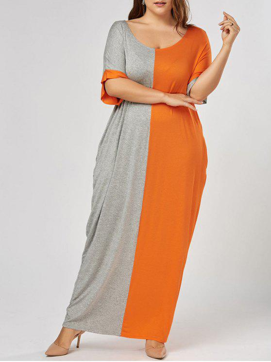 shops Plus Size Maxi Color Block Baggy T-shirt Dress - GREY AND ORANGE 4XL