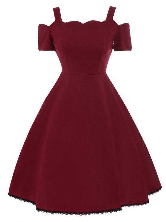 فستان توهج دانتيل تريم - نبيذ أحمر L