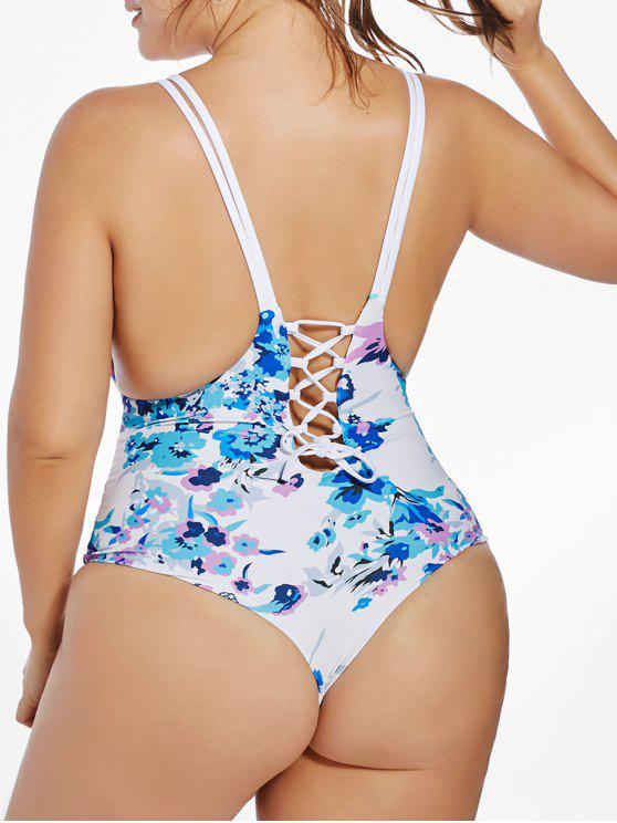 368ae3aeecbac 19% OFF  2019 Floral Lace Up Plus Size One Piece Swimsuit In BLUE ...