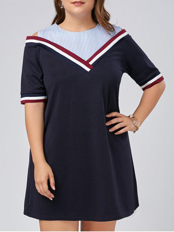 0bd51ac643eb1 40% OFF  2019 Plus Size Stripe Panel Cold Shoulder Tee Dress In ...